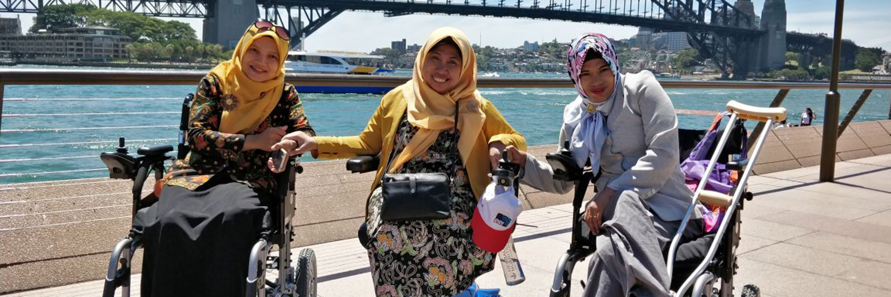 Three aspiring women at Sydney Harbour Bridge during the Organisational Leadership and Management Practices for Disabled People's Organisations Short Term Award.
