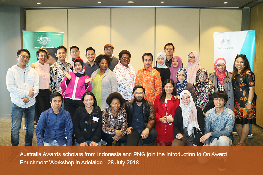 Australia Awards scholars from Indonesia and PNG join the Introduction to On Award Enrichment Workshop in Adelaide
