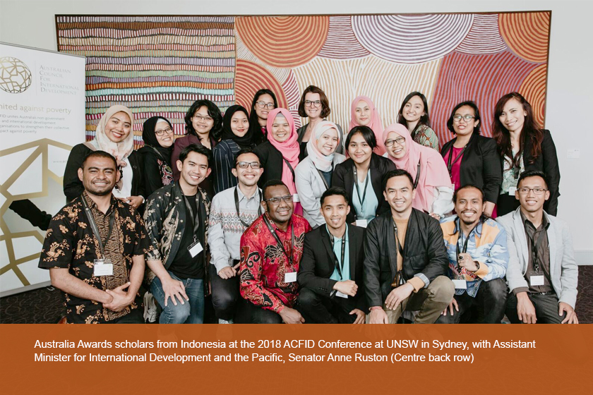 Australia Awards scholars from Indonesia at the 2018 ACFID Conference at UNSW in Sydney, with Assistant Minister for International Development and the Pacific, Senator Anne Ruston (Centre back row)