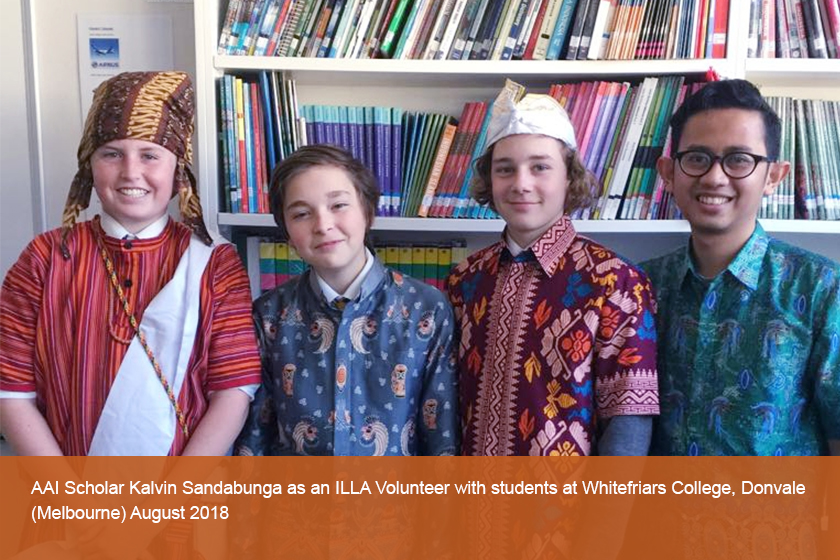 AAI Scholar Kalvin Sandabunga as an ILLA Volunteer with students at Whitefriars College, Donvale ,August 2018
