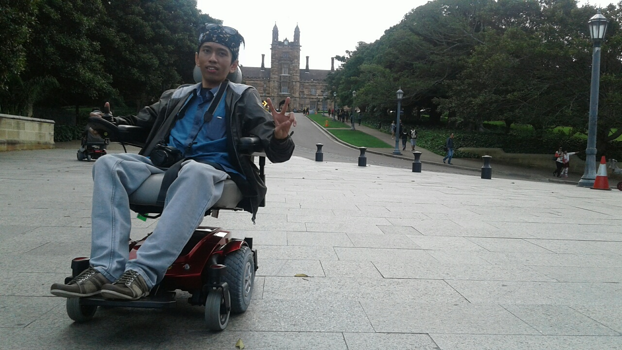 A man on an electric wheelchair