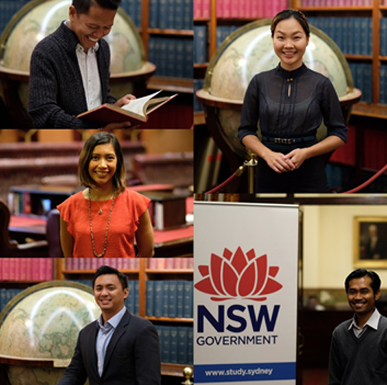 Australia Awards scholars from Indonesia, Philippines and Mongolia look happy and enjoy their participation in the 2018 NSW Government Australia Awards Seminar series.